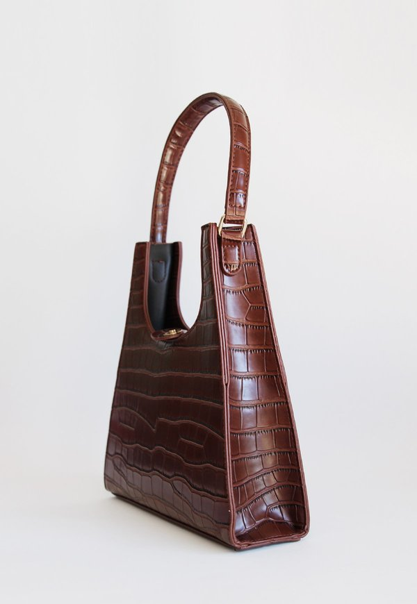 Collection and Co Aries Faux Croc Bag - Dark Brown