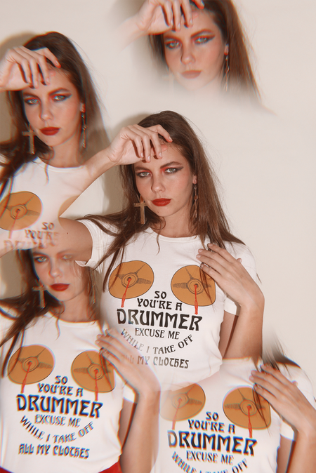 Sugarhigh Lovestoned So You're a Drummer Tee - White