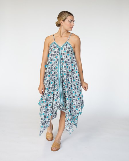 RUJUTA SHETH Handkerchief Cover Up Dress - Blues Geo