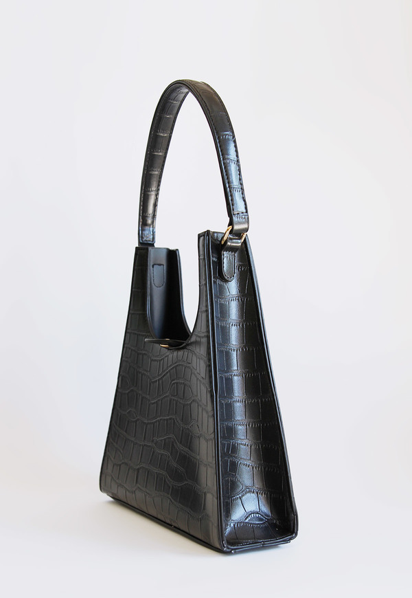 Collection and Co Aries Faux Croc Bag - Black