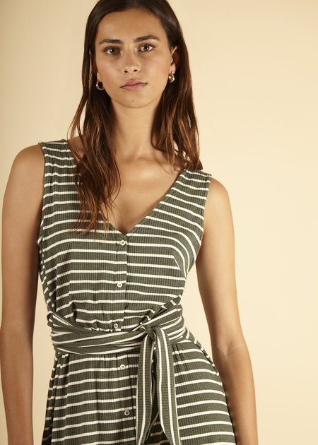 Mabel and Moss Annisa Dress - Olive Stripe