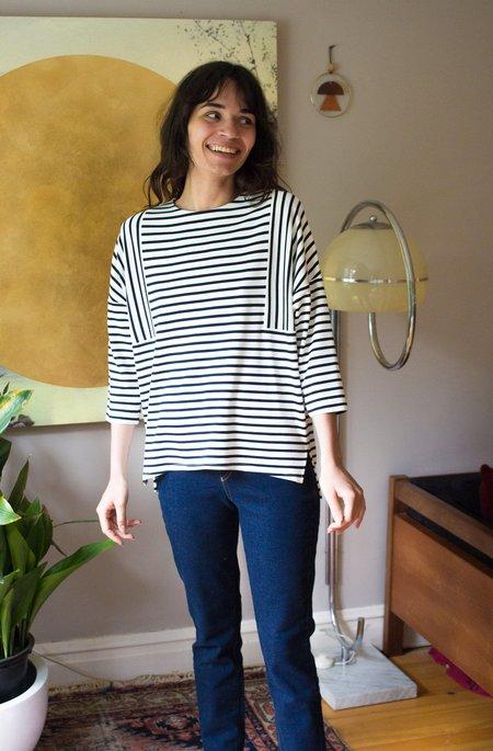 Valérie Dumaine Jennings Top - Ivory/Navy Stripes