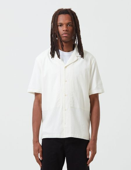 Folk Clothing Junction Short Sleeve Shirt in Linear Texture - White
