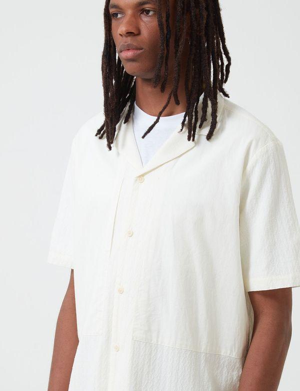 Folk Clothing Junction Short Sleeve Shirt in Linear Texture - White