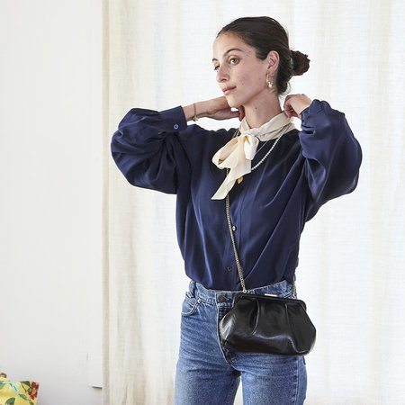 Clare V. Sissy Lizard Bag - Black