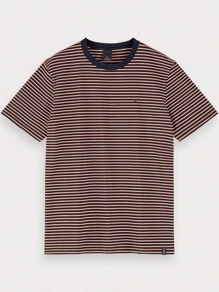 Scotch & Soda Stripe T-Shirt - Navy/Ginger