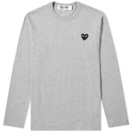 Comme des Garçons Heart Logo Long Sleeve Tee - Grey/Black