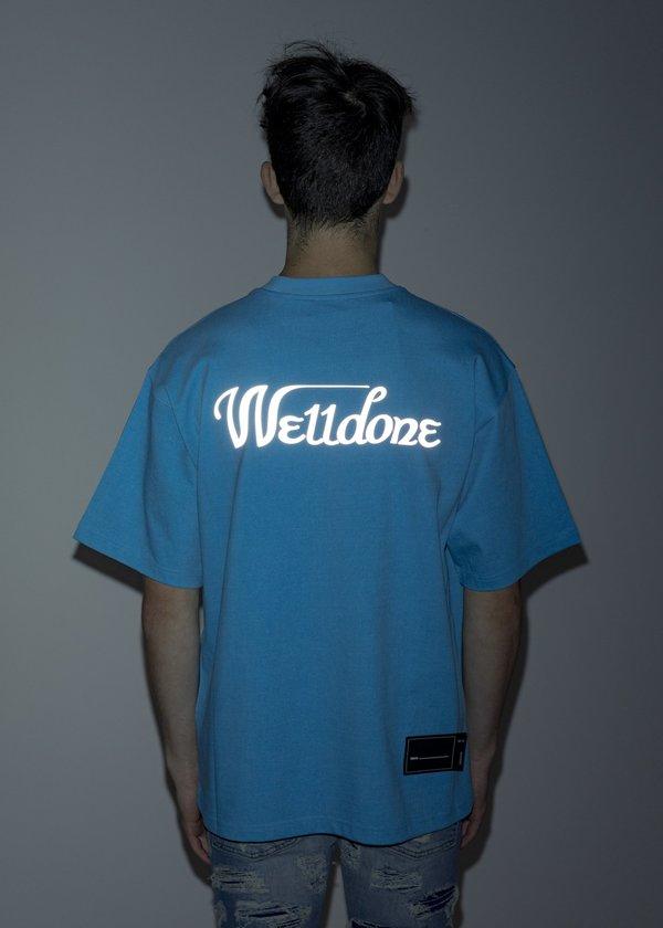 we11done Reflective Logo T-Shirt - Neon Blue