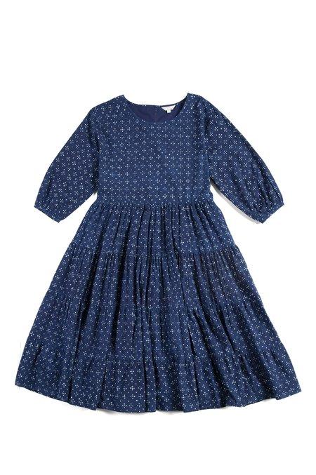 Voloshin Amer Vintage Fabric Tiered Dress - Indigo
