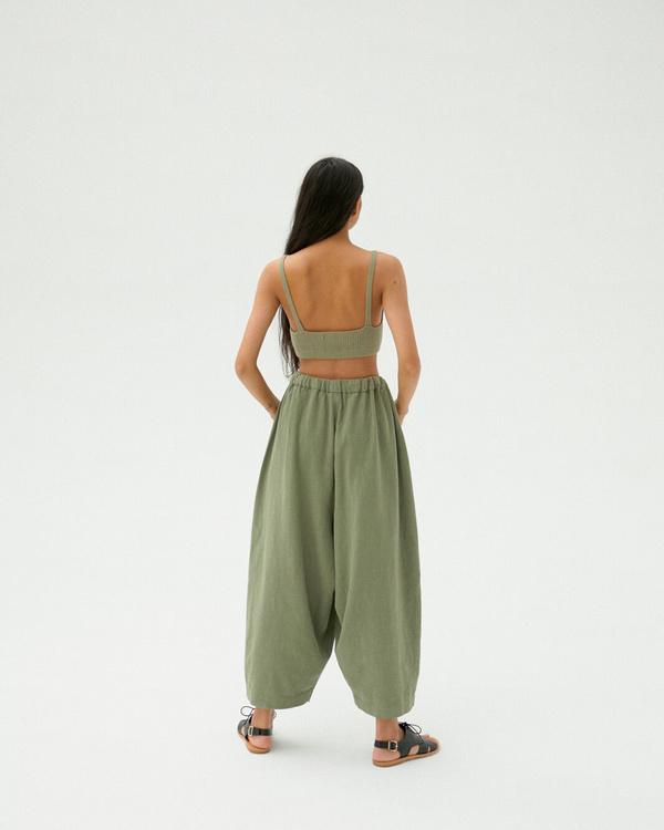 Monica Cordera Maxi Ramie Pants - Sage Green