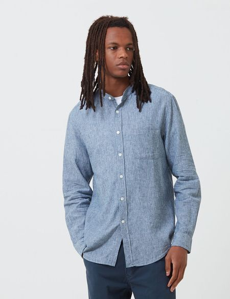 Portuguese Flannel Latitude Grandad Collar Shirt - Blue