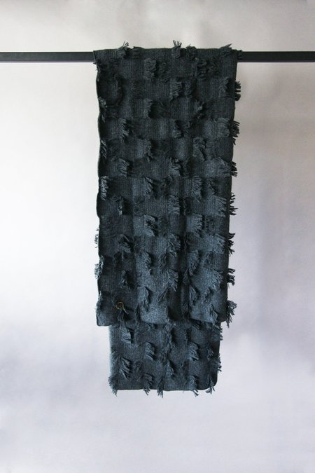 Oyuna Seren Fluffy Checked Knitted Cashmere Throw - Charcoal