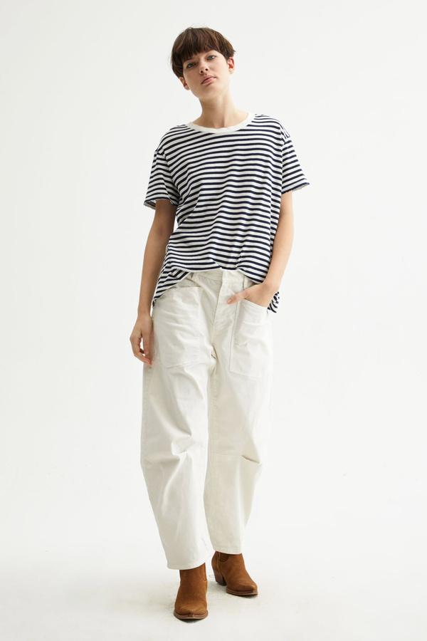 Nili Lotan Brady Tee - Dark Navy Stripe