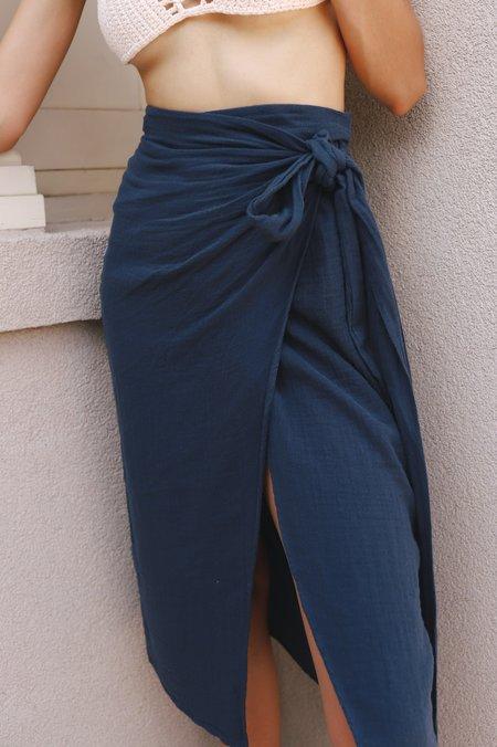 The Handloom Maya Cotton Wrap Skirt - Navy