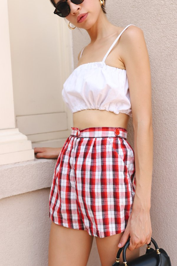 Vintage 1950s Shorts - Red Plaid