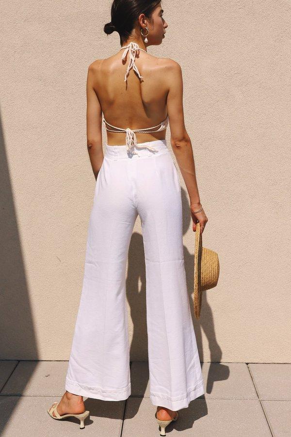 Vintage 70s Ellen Tracy Sailor Pants - White