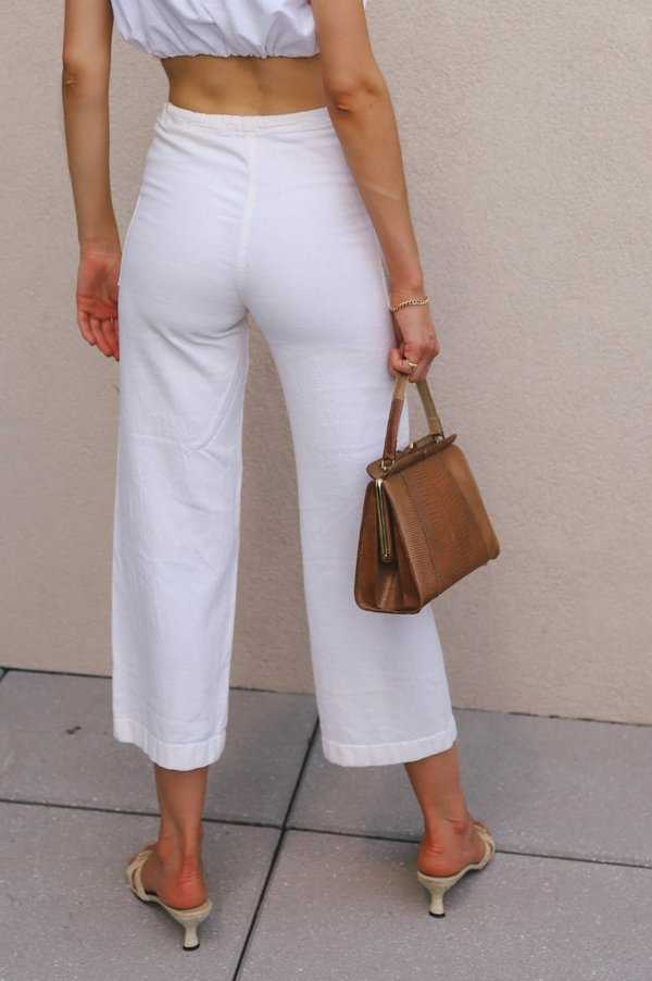 Vintage Cotton Drawstring Pants - White