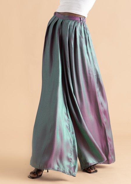 Onalaja Zana Pleated Metallic Pant - Blue