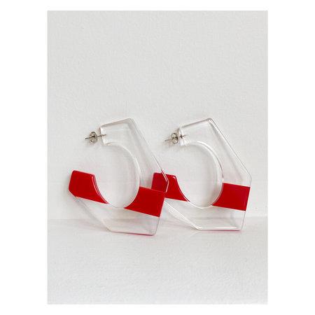 Rachel Comey Balady Earrings - Clear/Red Streak
