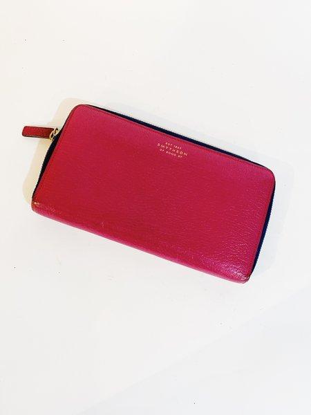 [pre-loved] Smythson Zip Around Wallet - pink/navy