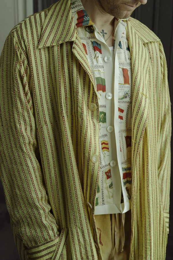 BODE Mashroo Stripe Overcoat - Yellow