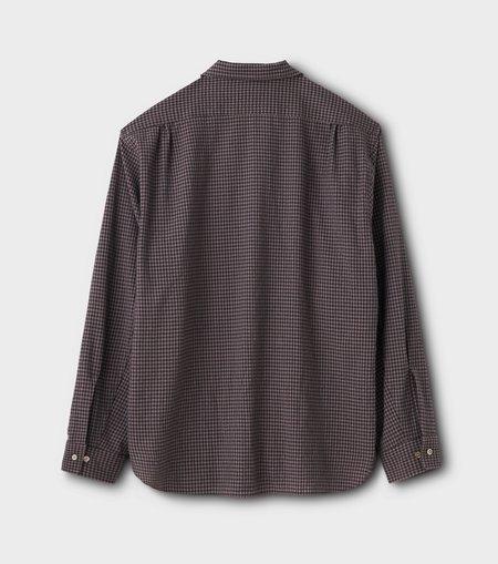 Phigvel Makers & Co. Seersucker Gingham L/S Open Collar Shirt - Purple Brown