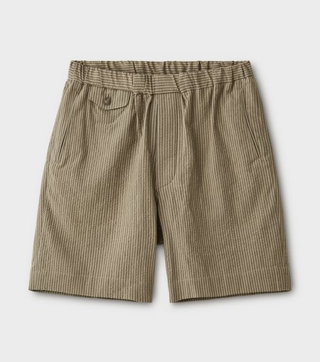 Phigvel Makers & Co.Seersucker Stripe Easy Short Pants - Khaki Olive