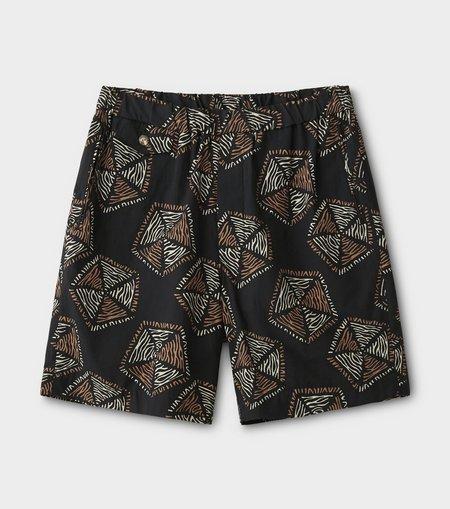 Phigvel Makers & Co. Traditional Pattern Easy Short Pants - Ink Black