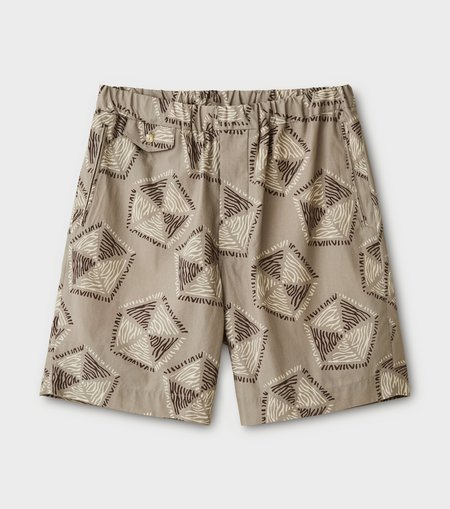 Phigvel Makers & Co. Traditional Pattern Easy Short Pants - Taupe Gray