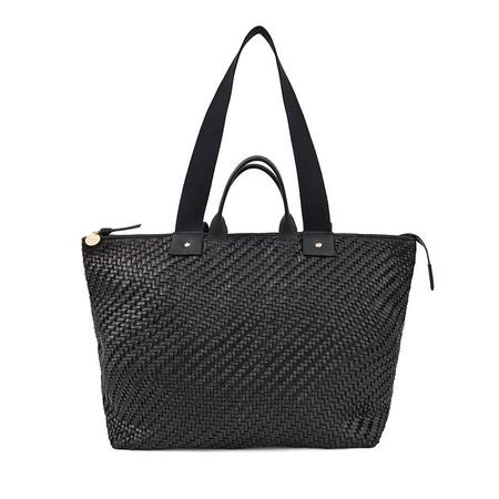 Clare V. Leather Le Zip Sac - Black Woven Zig Zag