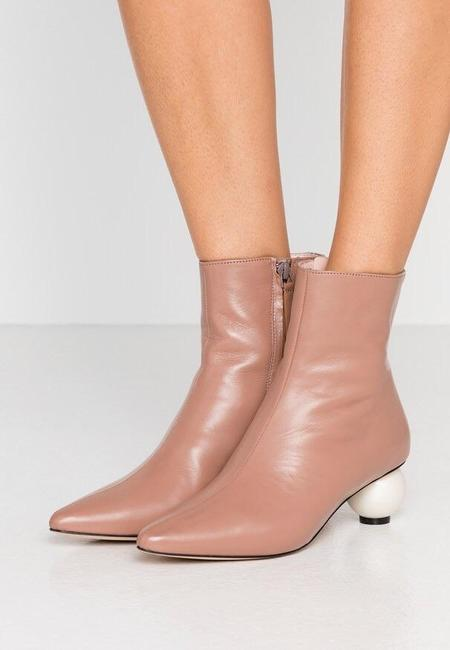 Mother of Pearl Leather Boot With Pearl Heel