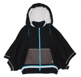 VPL Zip Hood Throw: Black x Turquoise