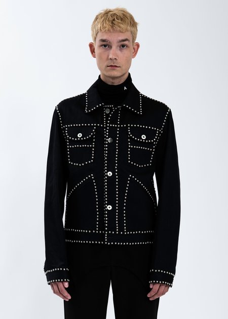 Sankuanz Studded Denim Jacket Black Garmentory