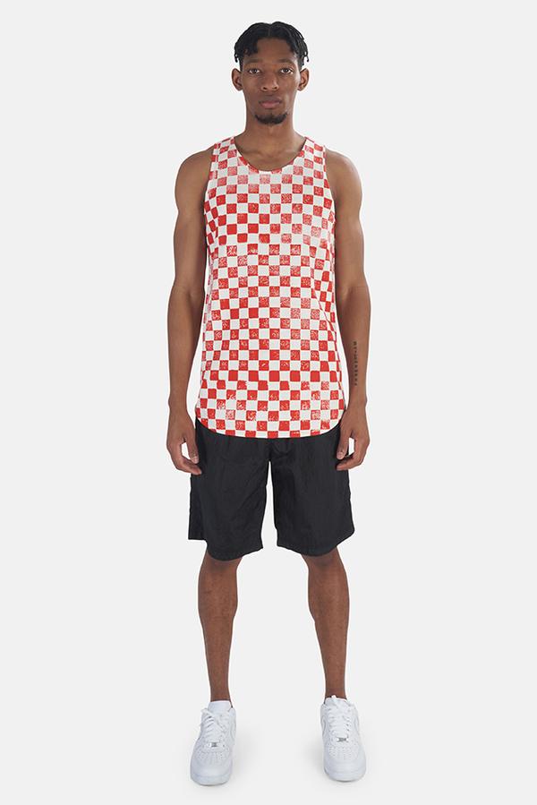 Jungmaven Checkerboard Tank Top - Red Checkerboard