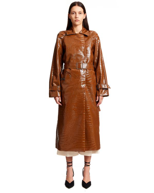 Saks Potts Patent Trenchcoat in Vegan Leather