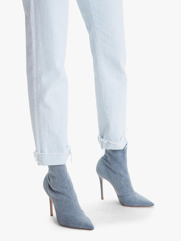 Mother Denim The Scrapper Cuff Ankle Fray Jeans - Baby Blue