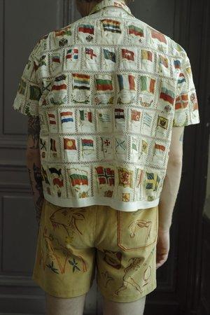 BODE Flag Patchwork Shirt - Natural Tobacco