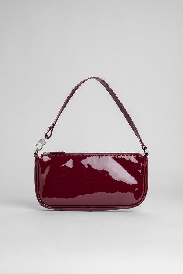 BY FAR Rachel Baguette Patent Bag - Burgundy