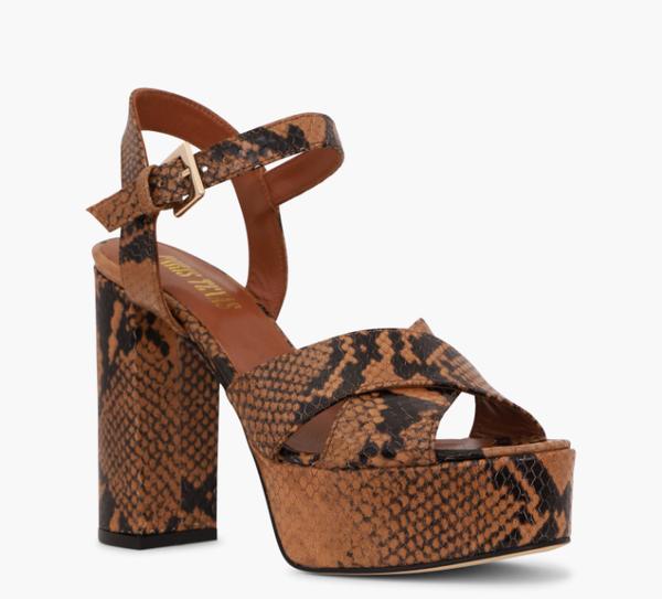 Paris Texas Python Platform Sandals - Brown Python