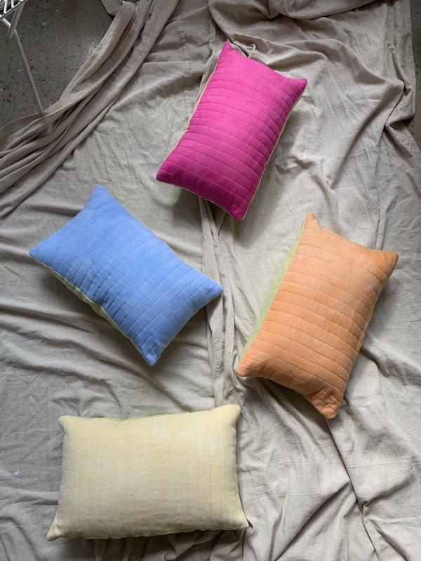Cuttalossa & Co. Cotton + Linen Quilted Lumbar Pillow - Fuchsia/Avocado