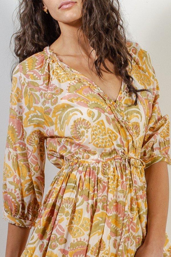 VOLOSHIN Kamala Cross Front Dress - Goldenrod Parlour Floral