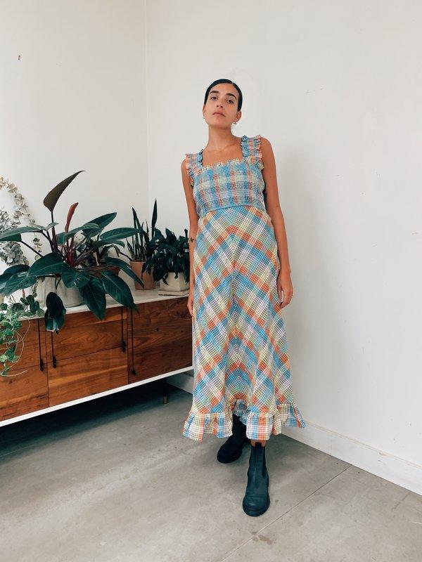 Ganni Seersucker Check Maxi Dress Multi Garmentory