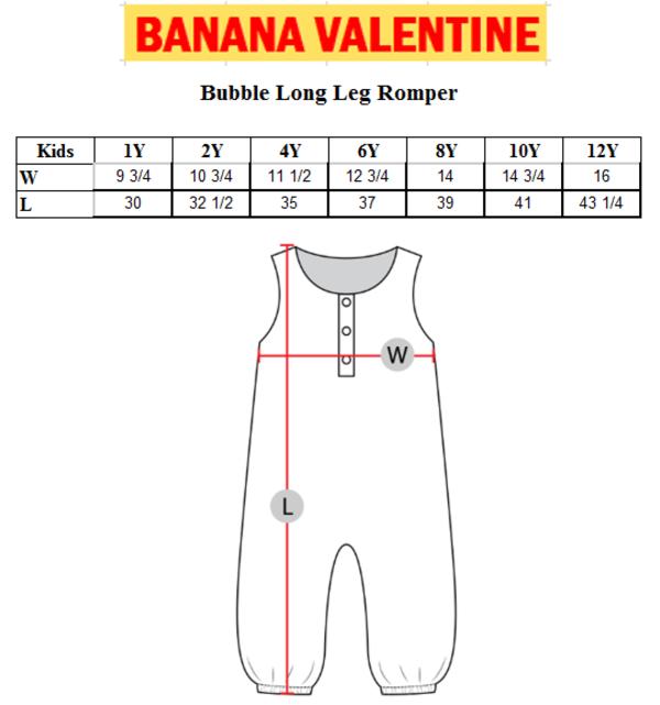 Kids Banana Valentine Slugs Bubble Long Leg Romper