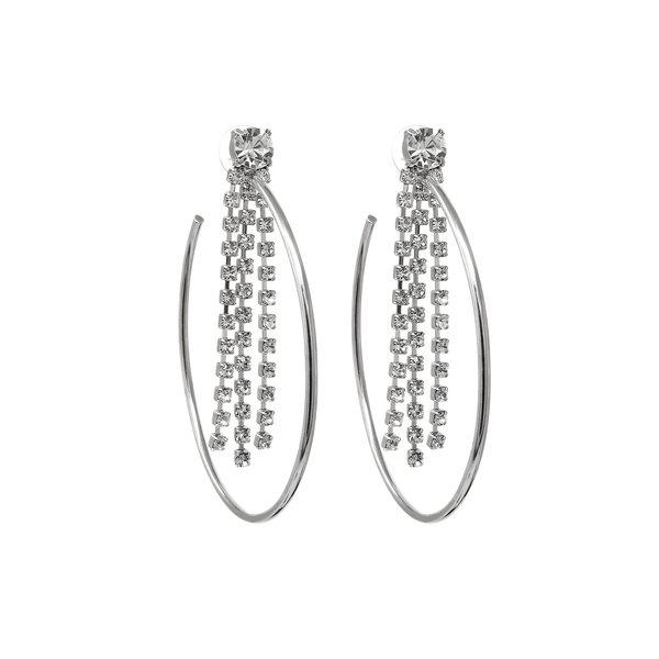 Joomi Lim Large Hoop Earrings with Fringe Crystals - Crystal