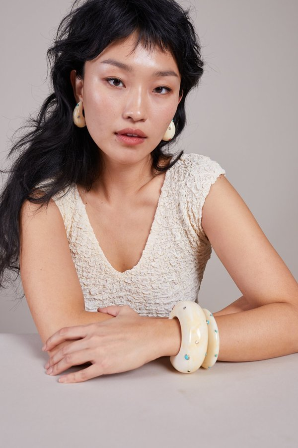 Lizzie Fortunato Ridge Cuff - Dotted Cream