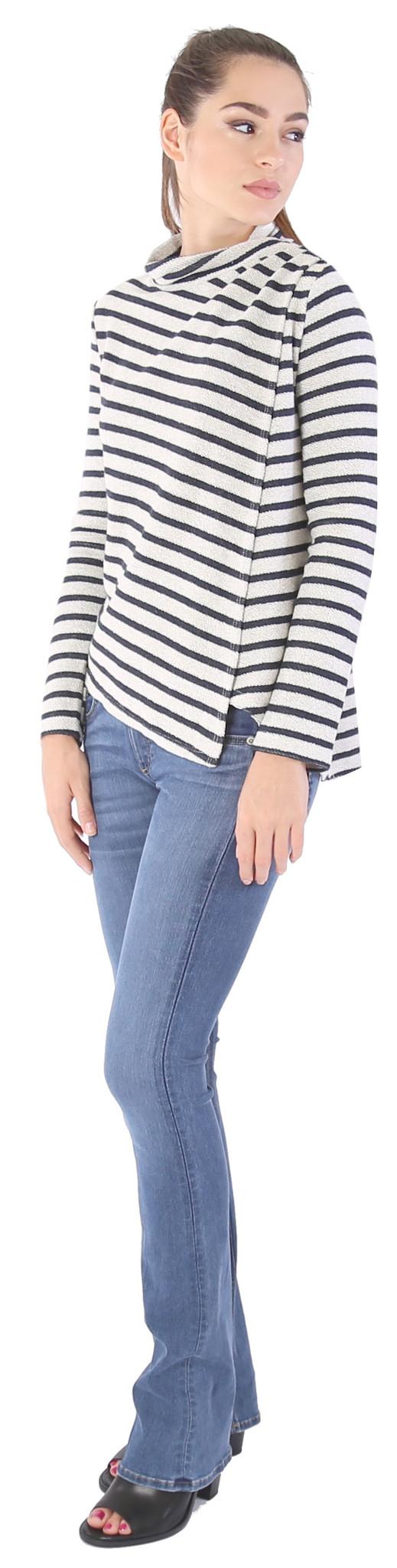 Shay & Coco Asymmetrical Zip Cardigan in White & Navy Stripe