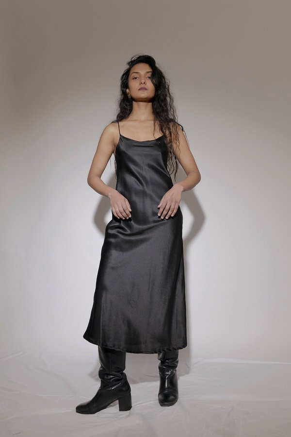BEFORE MARCH Rosemary double lined satin slip - Black