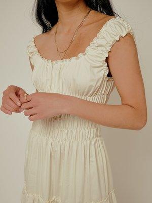Lisa Says Gah Cotton Satin Agatha Midi Dress - Ivory