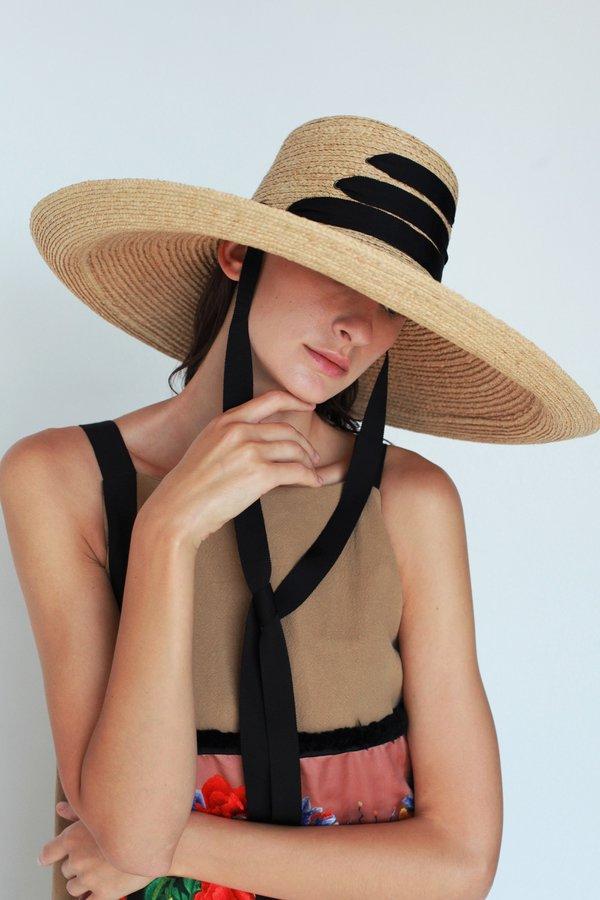 Lola Ehrlich Espartina Bis Raffia Hat with Black Ribbon