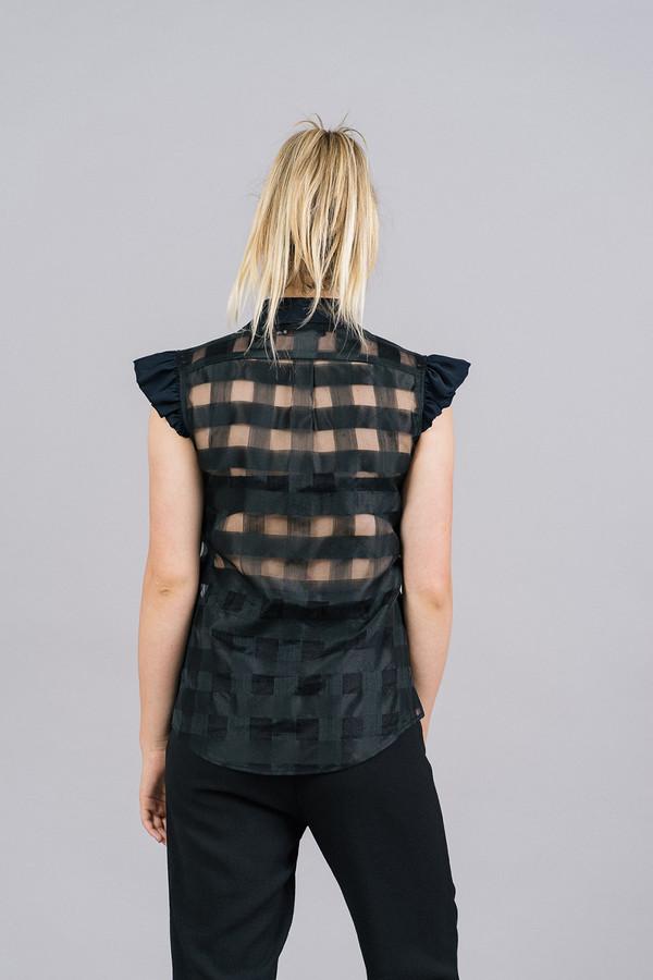 Harvey Faircloth Sleeveless Top with Ruffle Shoulder Detail